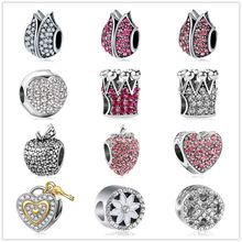 Lotus Flower Apple Crown Strawberry snowflake love Clip Beads Charms Crystal Fit Pandora Bracelets Charm DIY Original Jewelry(China)