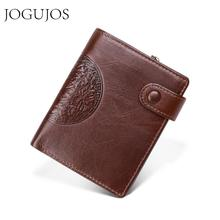 JOGUJOS Brand Men's Wallet Genuine Leather RFID Short Wallets Purse For Credit Cards  Male Carteira Masculina Small Male Wallet цена в Москве и Питере