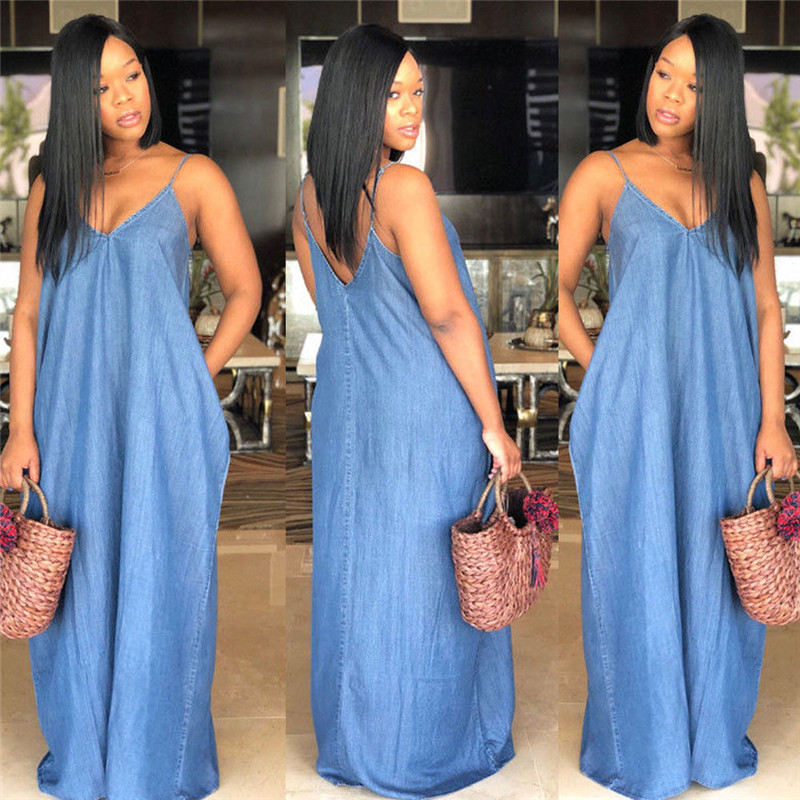 2019 Summer Sexy Women's Boho Backelss Long Denim Maxi Dress Women Loose Casual Solid Color Jean Sundress Plus Size