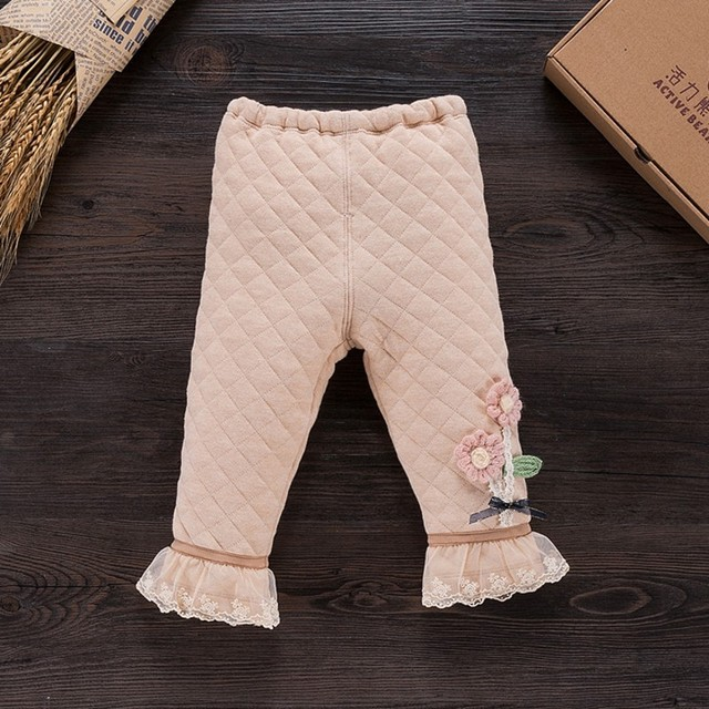 Los nuevos Bebés de Invierno Pantalones Calientes Gruesos de Algodón Orgánico Cordón Girls Pantalones Leggings Pantalones A Cuadros de Flores de Los Niños
