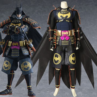 Anime Batman Ninja Bruce Wayne Cosplay Costume Jacket Cool Cloak Pants Armor Gloves Arm Leg Guard Halloween Carnival