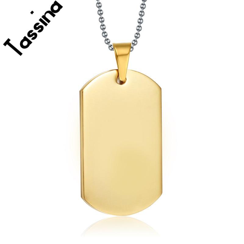 4a4ab312e1fd4 Tassina retro punk titanium aço banhado a ouro militar dog tag marca  gravura pingente de colar de moda jóias para homens tapn-004