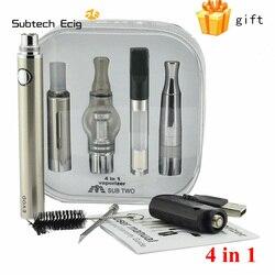 Subtech 4 em 1 cigarro eletrônico evod kit vaporizador para erva seca cartucho de cera líquida embutido kit vape bateria