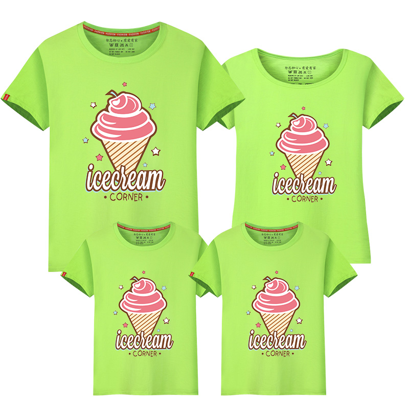 2018 Icecream Cotton Family Clothing Kid White Short Sleeves t Shirts Family Matching Outfit Shirts Summer T Shirt