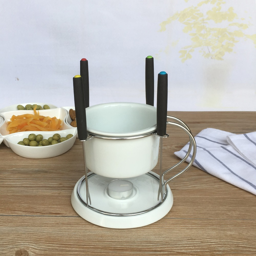 7pcs chocolate fondue set cheese hot pot ceramic ice cream furnace with fork and candle