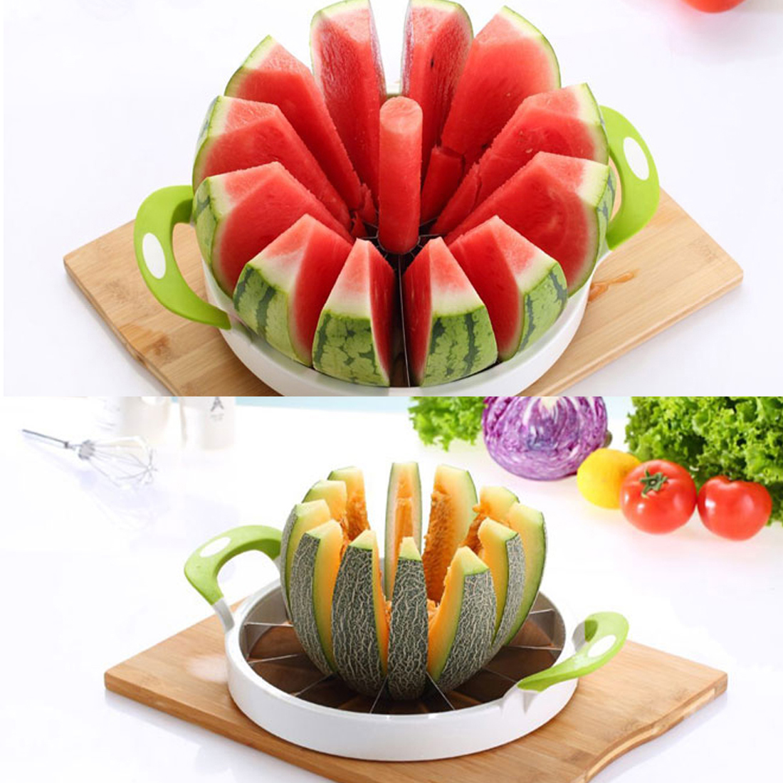 Useful Stainless steel Creative Watermelon Slicer Melon Cutter Knife Fruit Cutting Slicer White and Green Practical Kitchen Tool