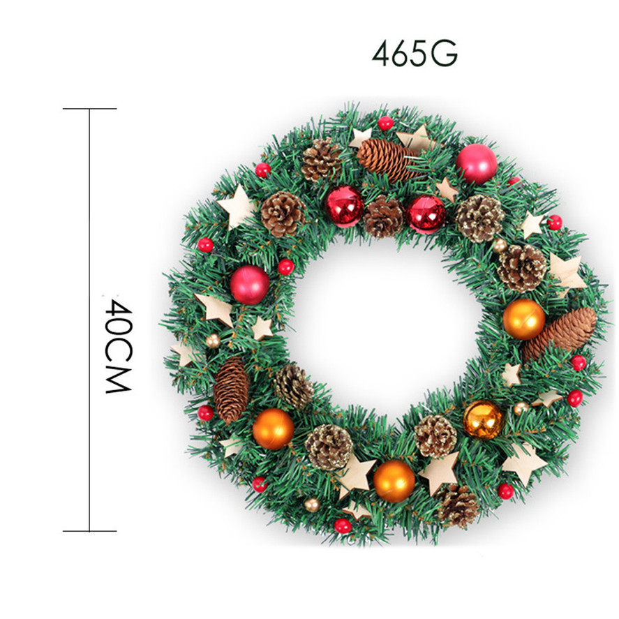 new large christmas wreath 1pc 40cm pine cone wood star chips christmas wreath party decoration xmas wall ornament 30 in wreaths garlands from home - Large Christmas Wreaths