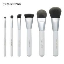 Professional 6 Pcs Makeup Brushes Set Pink Powder Foundation Eyes Shadow Eyebrow Brush Cosmetics Wood Handle Make Up Tools Kit цена