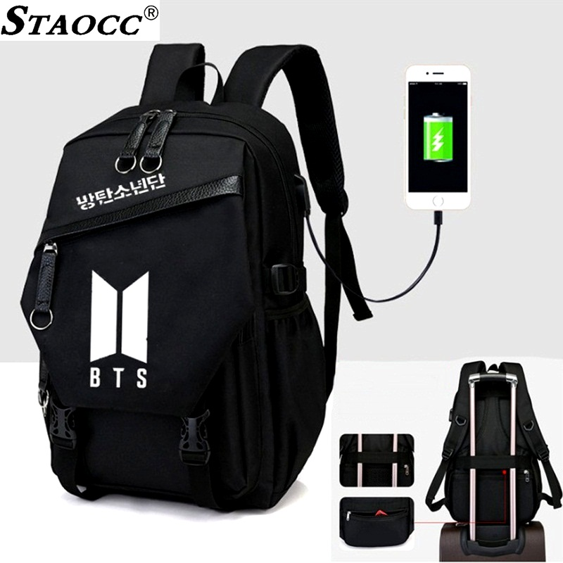 New BTS USB Laptop Backpack Anti Theft Travel Bagpack Canvas School Bag For Girls Boy Book Bag Large Capacity Student Mochila new anime one piece skull monkey d luffy backpack bag anti theft school rucksack student book bag cosplay for 14 inch laptop