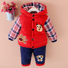 2018 Baby Winter Clothes Sets Boys And Girls Plus Velvet Thick Clothing 2 Piece Children Cartoon Hooded Clothes Suits 1 3 Years
