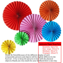 6pcs/lot Solid color Cheap Paper Fans For Wedding Tissue Paper Fans Flowers Birthday Party