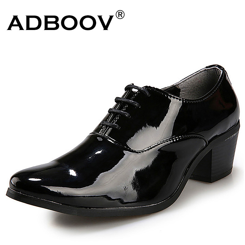 mens red black white wedding shoes gentsman 6cm high heeled glossy leather dress shoes 2.3 inch medium heighten heel party shoes