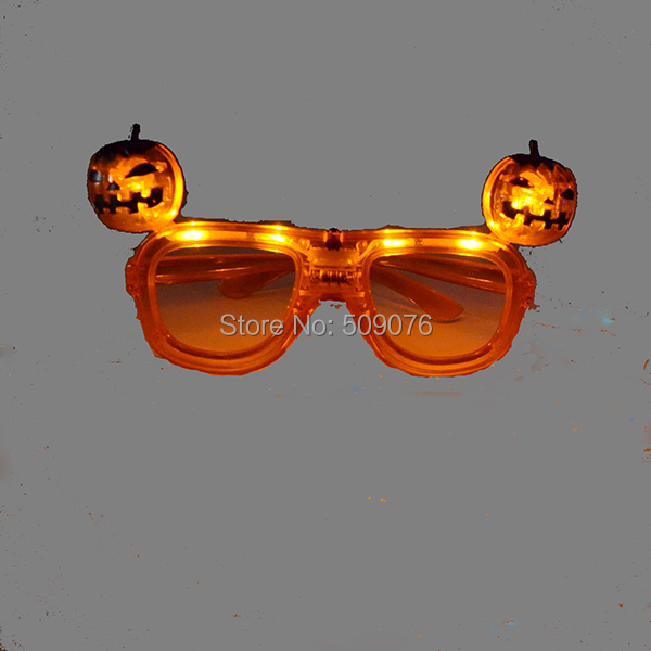 Free shipping 120pcs/lot <font><b>Light</b></font> Up Glasses Halloween Sunglasses <font><b>PUMPKIN</b></font> Flashing <font><b>LED</b></font> Costume NEW