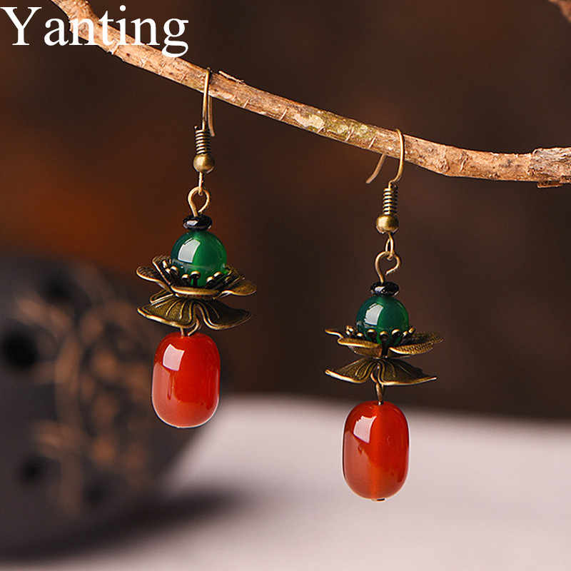 Yanting Red Green Stone Earrings For Women Vintage Copper Alloy Flower Earings Fashion Jewelry Brincos Simple Earring Female 070