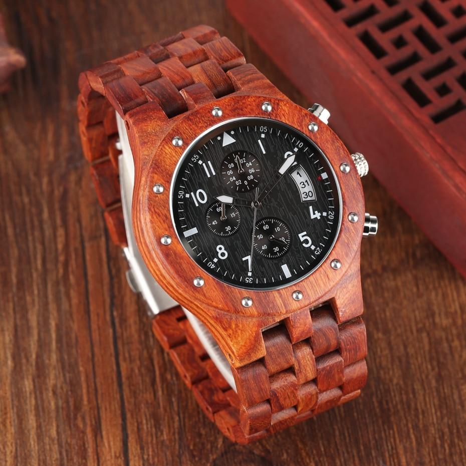 Wooden Watch Men erkek kol saati Top Luxury Stylish Redwood Timepieces Chronograph Military Date Calendar Quartz Watches for Men 2019 2020 2021 2022 (6)