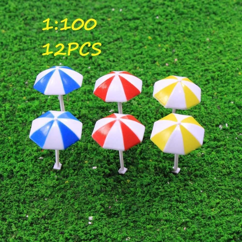 TYS11100 12pcs Model Train Railway Sun Umbrella Parasol 1:100 TT HO ...