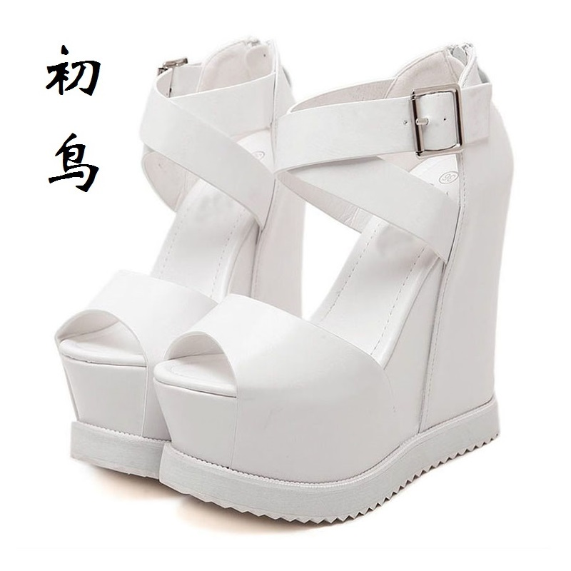 2017 Fashion White Wedges Slippers Sexy Women Platform Sandals Ladies Pumps High Heels Shoes Woman Summer Style Chaussure Femme 2017 suede gladiator sandals platform wedges summer creepers casual buckle shoes woman sexy fashion beige high heels k13w
