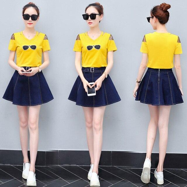 f01e86cf7da2 2018 summer new design Korean fashion casual suits short-sleeved T shirt &  denim skirt two-piece clothing set women girl outfit