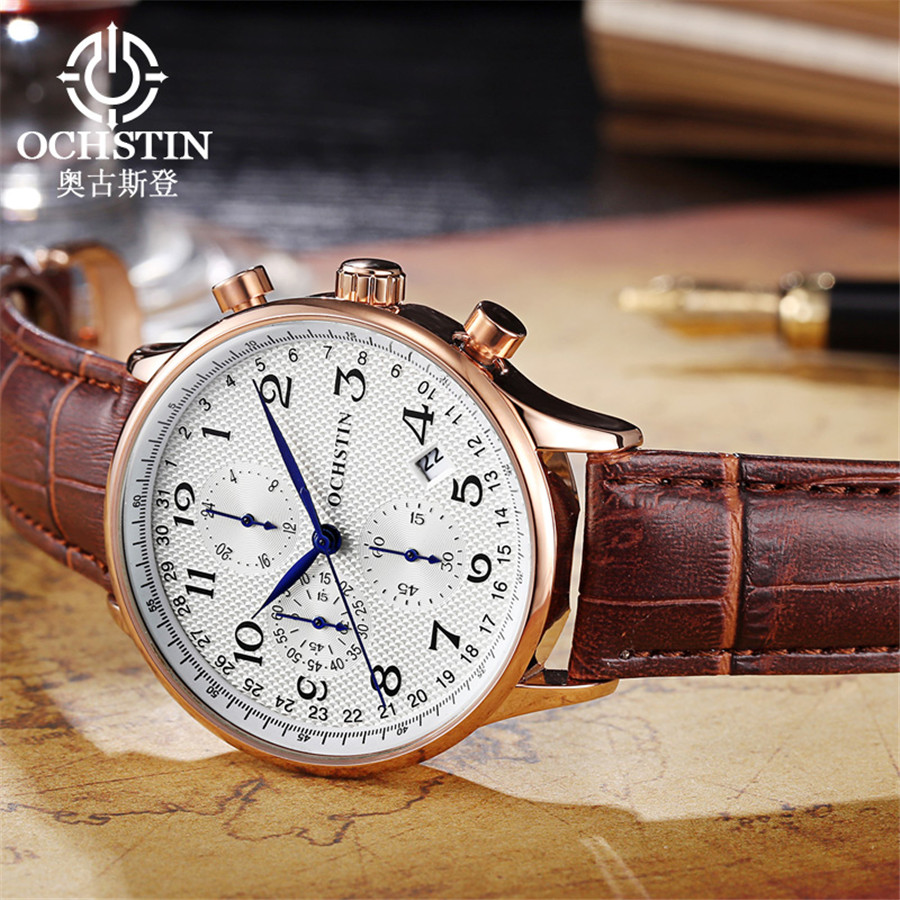 Image 2 - Rose gold case Fashion Blue pointer Chronograph Mens Watches Top Brand Luxury Quartz Watch Men Leather Waterproof Sport Watch-in Quartz Watches from Watches