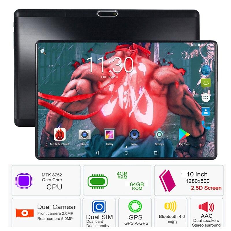 Hot 4 GB RAM 64 GB ROM 10 pouces tablette Octa Core double fentes de carte SIM Youtube 1280X800 2.5D IPS écran Android 8.0 tampons GPS