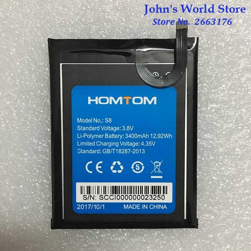 100% Original HOMTOM S8 Battery Replacement 5.7inch 3400mAh Backup Batteries Replacement For HOMTOM S8 Smart Phone(China)
