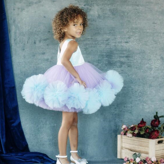 Short Puffy tulle Ruffles purple and blue flower girl dresses for dancing party Christmas ball gown kids baby birthday gown