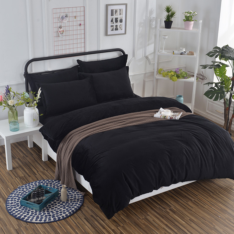 Soft Solid Colors Anti Static Velvet black Bedding Set with Conductive Fibers Luxury Duvet Cover Sets Simple Brief Fashion GiftsSoft Solid Colors Anti Static Velvet black Bedding Set with Conductive Fibers Luxury Duvet Cover Sets Simple Brief Fashion Gifts