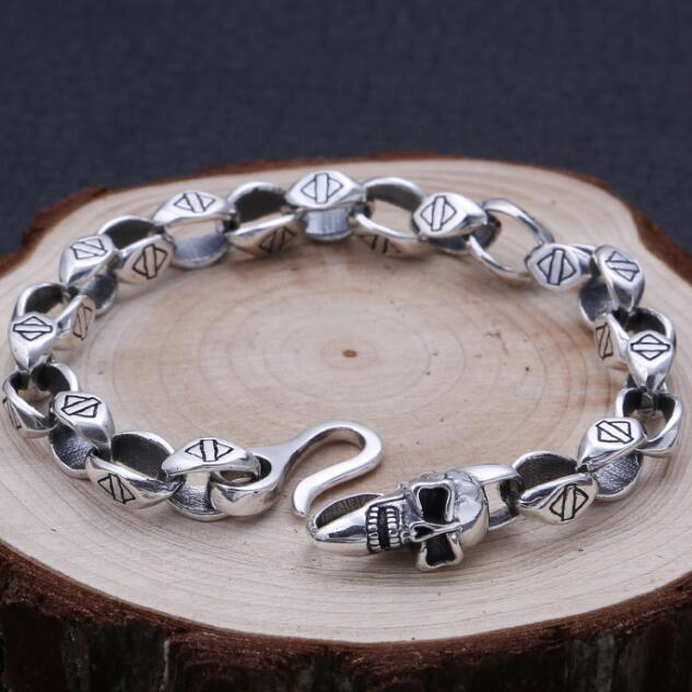 Handmade 100% 925 Silver Skull Bracelet Thai Silver Man Chain Bracelet Vintage Sterling Skeleton Bracelet Jewelry Gift цена 2017