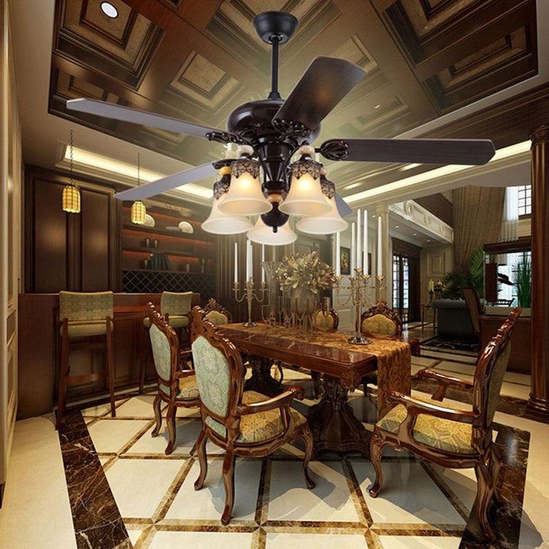 LED fan light American retro living room dining room chandelier mute strong wind fan light industrial style simple electric fan
