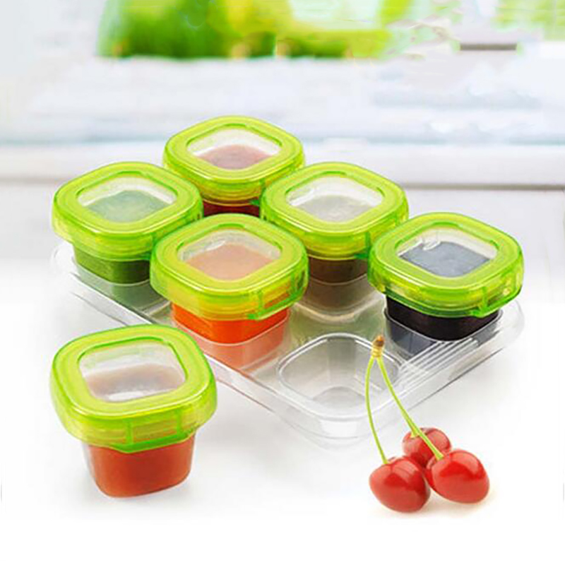 цена на 6Pcs Set Baby Food Container Memory Storage Box Baby Milk Box Infant Food Supplement Crisper Lunch Snack Tableware