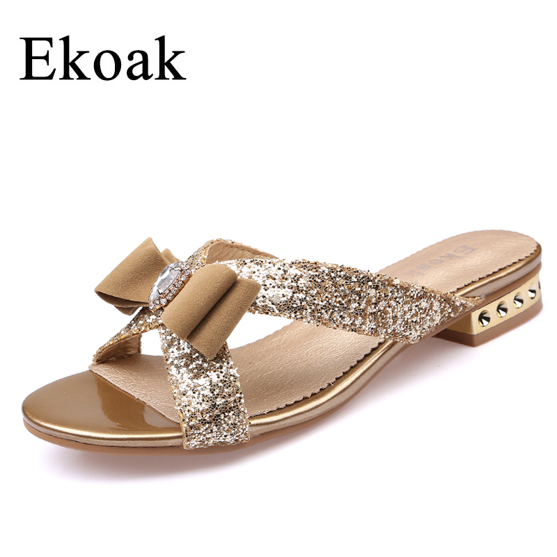 купить Ekoak New Fashion Women Sandals Ladies Sexy Crystal Bling Bowtie Party Dress Shoes Woman Summer Beach Shoes Girls Slides по цене 1518.38 рублей