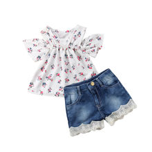 Fashion Toddler Baby Girls Off Shoulder White Flower Printing T-Shirts and Denim Lace Short Pants Outfits