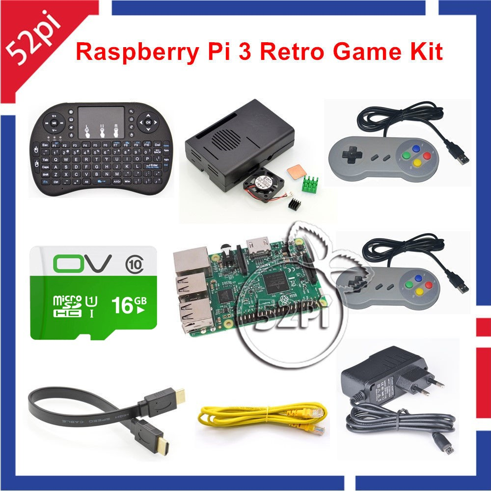 52Pi 16GB RetroPie Game Console Kit with Raspberry Pi 3 Model B and 2pcs SNES Gamepads Controllers стоимость