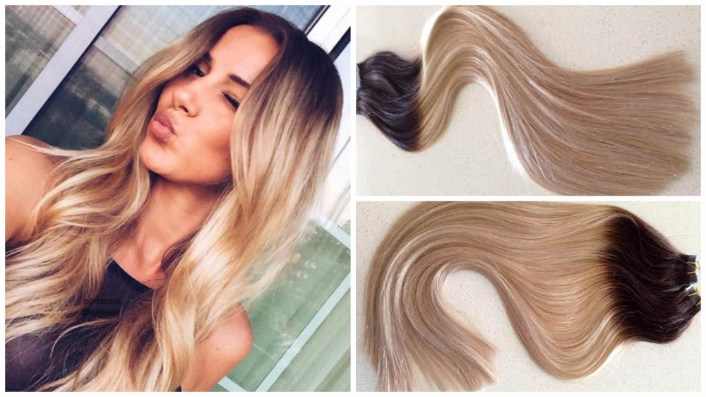 Hot Queen Dark Roots To Caramel Blonde Balayage Tape Hair Extensions