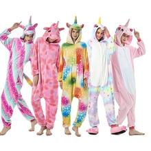 2019New Winter Animal Pajamas Stitch unicornio Sleepwear Pink Unicorn Sets Kigurumi Women Men Unisex Adult Flannel panda Nightie