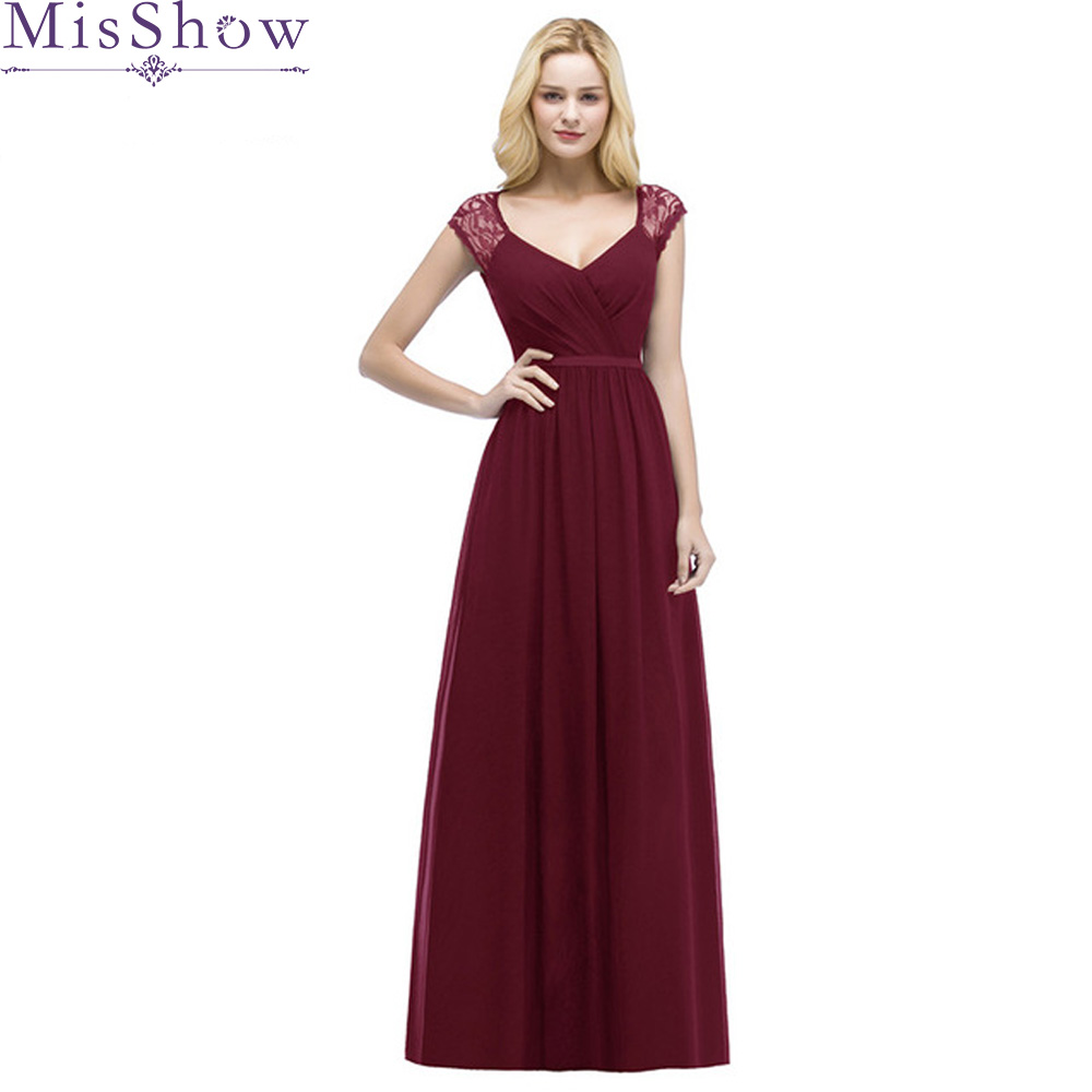 Burgundy   Bridesmaid     Dresses   2019 A-line V Neck Women Formal Wedding Party Gowns backless Chiffon Floor-Length Party Prom   Dress