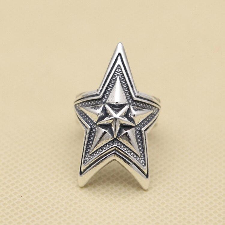 Haut à la mode bref Pentastar brassard bande anneau hommes femmes 100% solide 925 Sterling argent 16.7g plus à la mode bijoux en argent hommes cadeaux