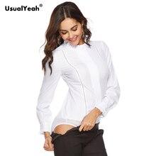 UsualYeah Осенняя белая рубашка с воротником и оборками, плиссированная рубашка с длинным рукавом, элегантный топ, тонкий топ на молнии, офисный женский боди
