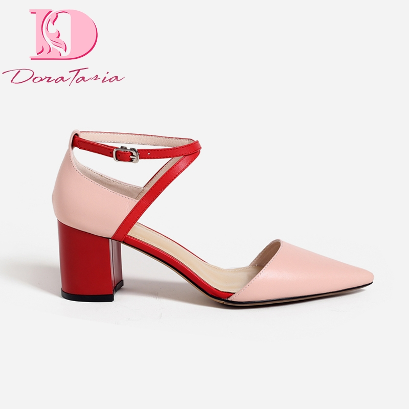 Doratasia genuine leather cow leather sheepskin pigskin high heels women Shoes pointed toe party sandals woman