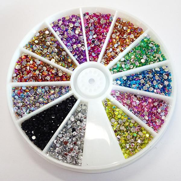 Misturar 12 Cores Dicas Nail Art Decoração Glitter Cristal AB Strass Prego Ferramentas Com Whee Gems DIY Decoração