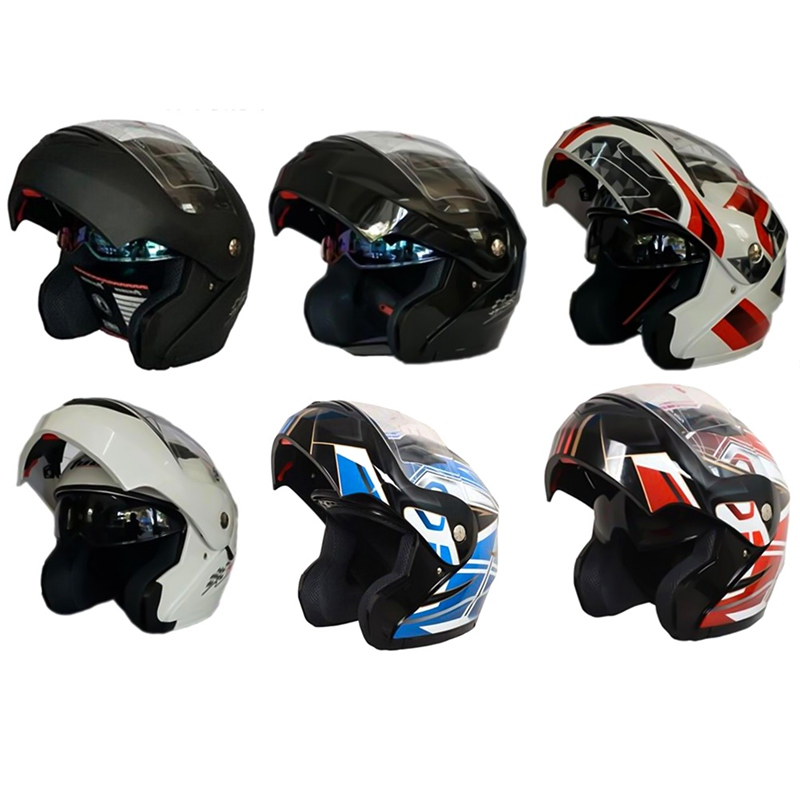 Motorcycle Helmets Flip Up Double Visors Helmet Racing Full Face Safety Helmet With Inner Sun Visor Motorcycle Protective Gear no2 free shipping bluetooth helmet for phone motorcycle helmet roadcross double visors racing helmets with sunny lens s m l xll