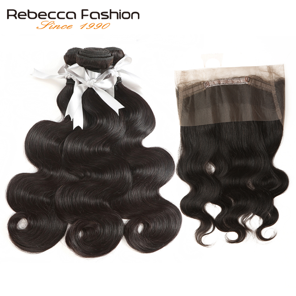 Rebacca 360 Lace Frontal With Bundle Peruvian Hair 3 Bundles With Closure Body Wave Human Hair