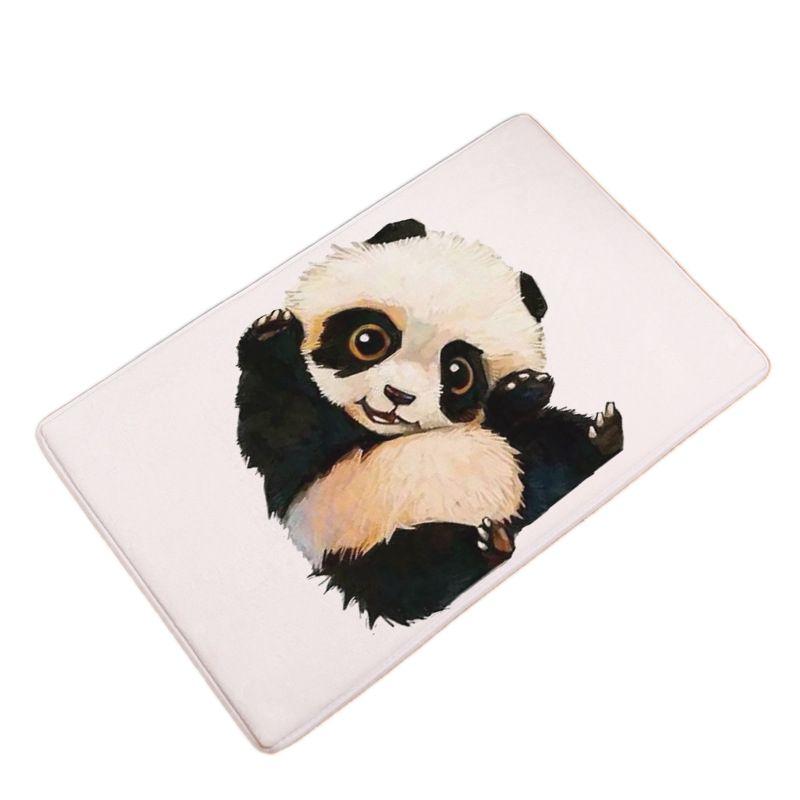 Flannel Funny Panda Printed Welcome Doormats Bathroom Kitchen Hallway Carpets Floor Soft Mat For Living Room Anti-slip Tapete