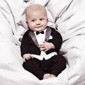 Smoking Meninos Macacão 2016 Primavera Outono Nova Chegada Do Bebê Macacão de Bebê Menino Definir Misturas de Algodão Do Bebê Recém-nascido Roupas 2 Cor