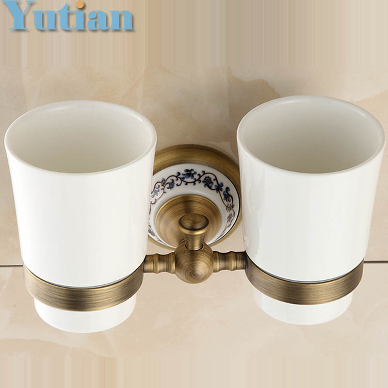 Free shipping Fashion toothbrush holder,Pure copper&ceramic,Double cup, Bathroom tumbler holder bathroom set-wholesale YT-11508 allen roth brinkley handsome oil rubbed bronze metal toothbrush holder
