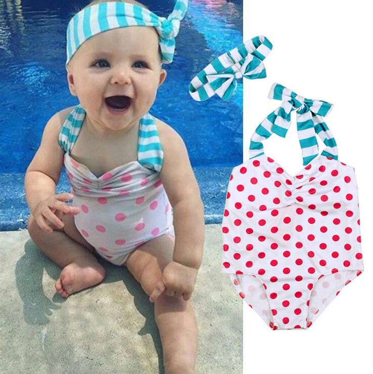 95ced1d550 New Model Cute Baby Girl Swimwear One Piece Dot Girls Swimsuit Kid Children Swimming  Suit