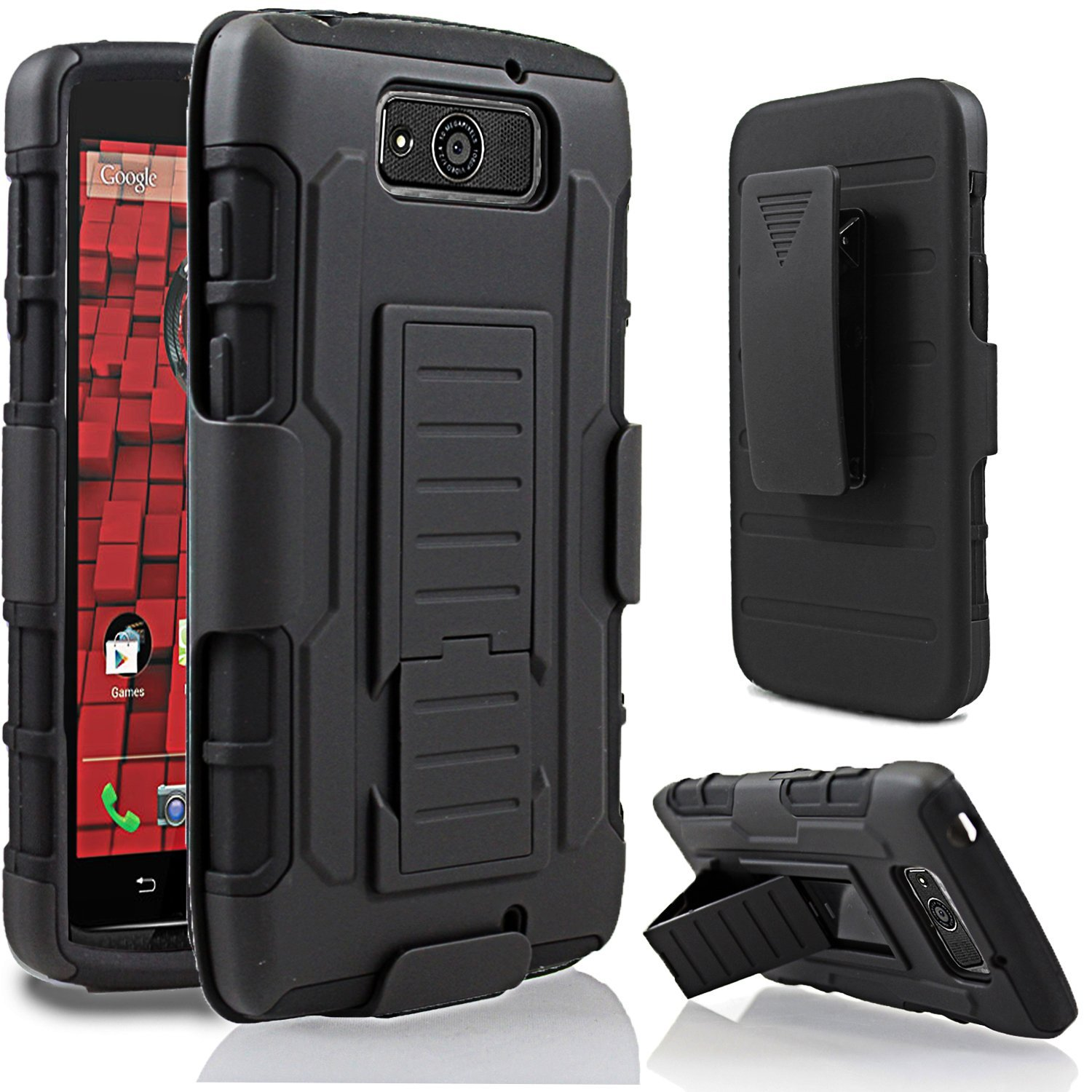 best loved 24d78 1c7e1 US $4.28 |Protective Armor Impact Hybrid Stand Hard Case Cover+Holster With  Belt Clip For Motorola Droid Ultra/Maxx XT1080m-in Holsters & Clips from ...
