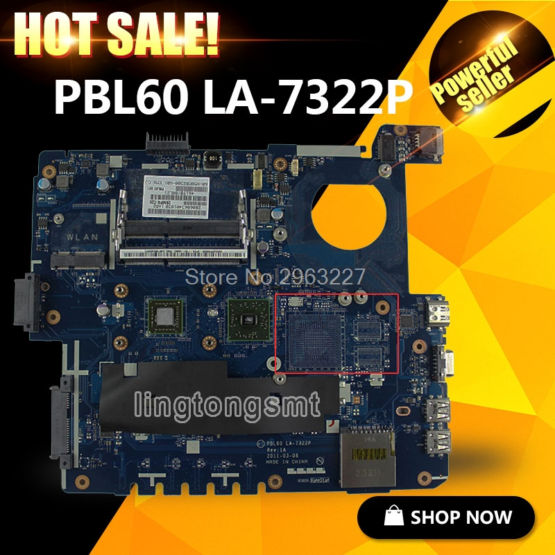 X53U Motherboard PBL60 LA-7322P For ASUS X53B K53U K53BY X53BY Laptop motherboard X53U Mainboard X53U Motherboard test 100% OK