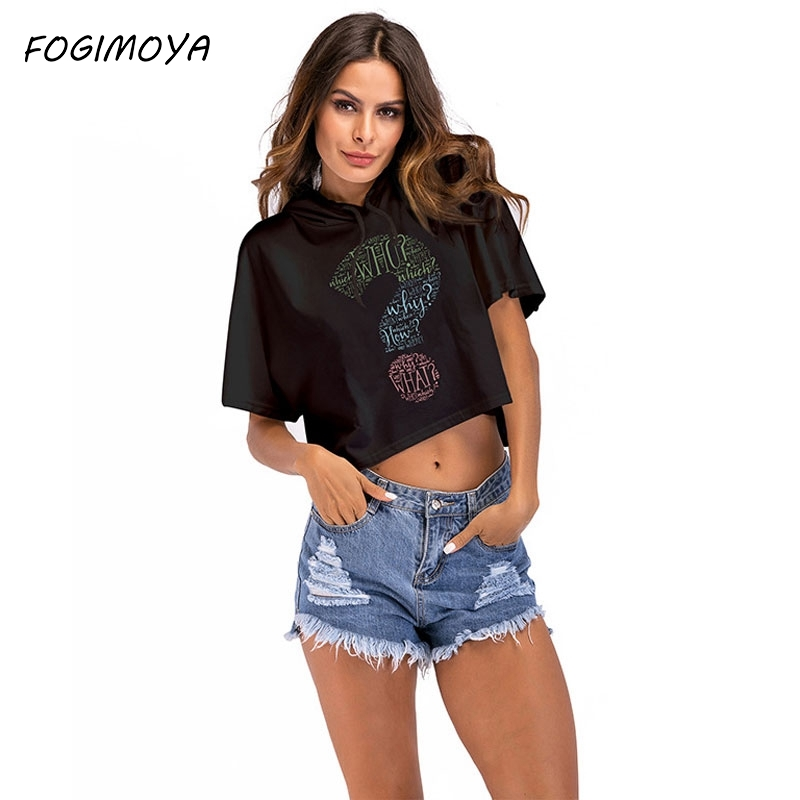 FOGIMOYA Short Hoodies Women Summer Pullovers Loose Letter Print Hooded Tops Womens 2018 Casual Wild Short Sleeve Hoodies New