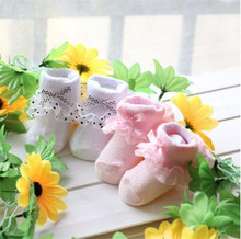 1 Pair Cute Toddlers Infants Cotton Ankle Bow Socks Baby Girls Princess Bowknots Socks Lace Floral Shoes for 0-6 Months